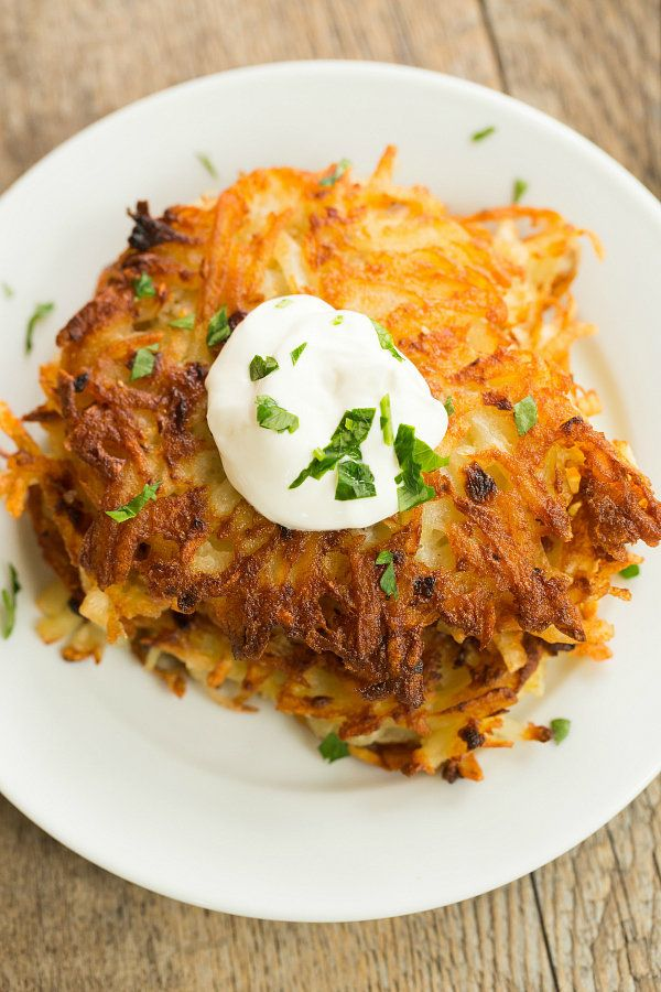 "<strong>Get the <a href=""http://www.browneyedbaker.com/potato-latkes-recipe/"" target=""_blank"">Crispy Potato Latkes recipe</a>"