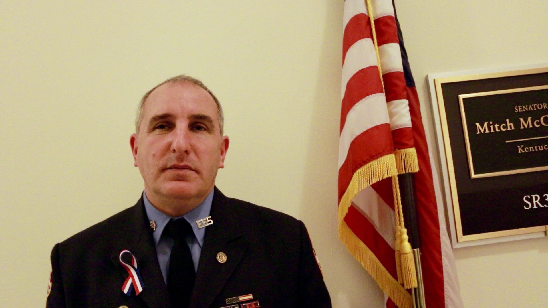 Paul Iannizzotto, a for New York firefighter, visited Senate Majority Leader Mitch McConnell's office with two dozen other 9/11 responders.