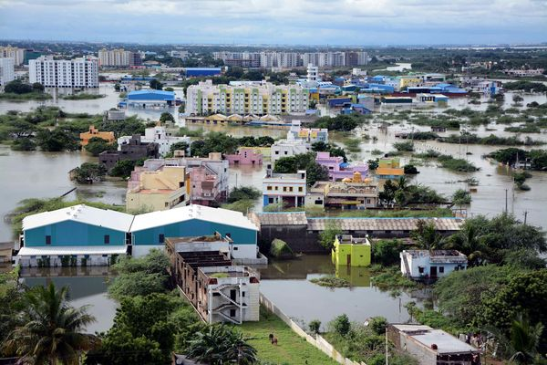 Water-logged houses are pictured in a flooded suburb of Chennai on Nov. 17, 2015.