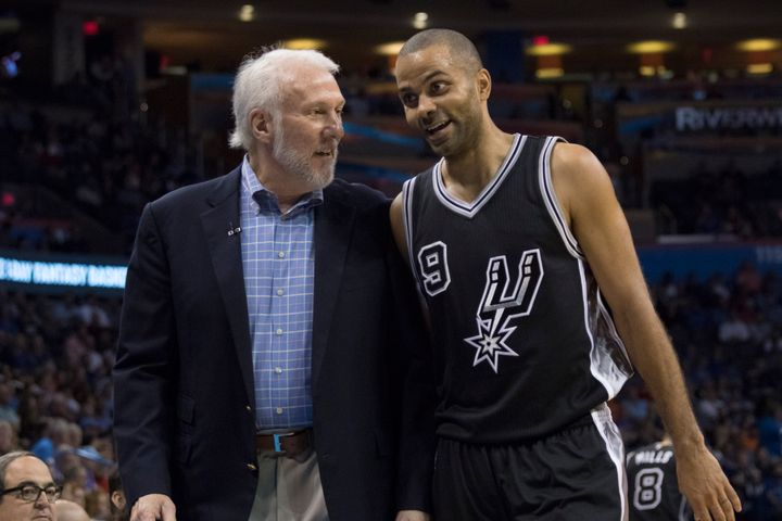 Gregg Popovich with Tony Parker during the Spurs'clash withOklahoma City Thunder in October.