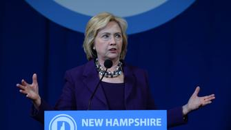 MANCHESTER, NH - NOVEMBER 29: Democratic Presidential candidate Hillary Clinton speaks at the Jefferson Jackson Dinner at the Radisson Hotel November 29, 2015 in Manchester, New Hampshire. The dinner is held annually by the New Hampshire Democratic Party. (Photo by Darren McCollester/Getty Images)