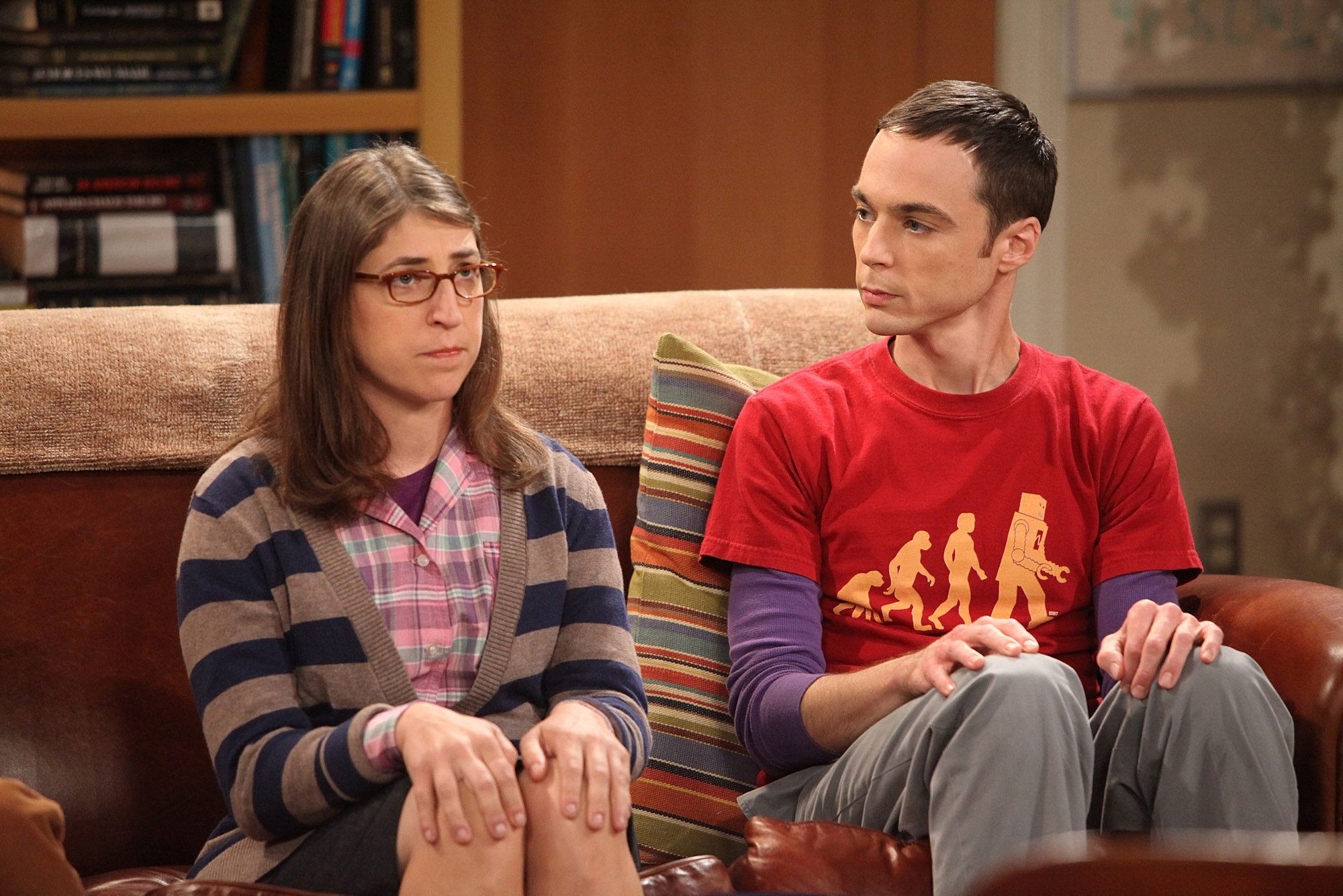 LOS ANGELES - AUGUST 23: 'The Zazzy Substitution' -- The guys are concerned as Sheldon (Jim Parsons, right) searches for an alternative to human companionship with Amy Farrah Fowler (Mayim Bialik, left), on THE BIG BANG THEORY, Thursday, Oct. 7 (8:00-8:31 PM, ET/PT) on the CBS Television Network.(Photo by Richard Cartwright/CBS via Getty Images)