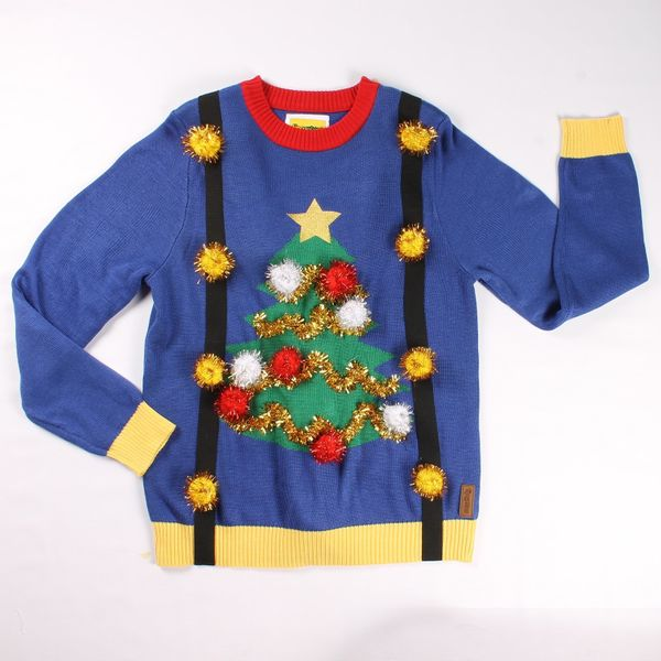 """Ugly Christmas Tree Sweater with Suspenders $64.95 (originally $69.95), <a href=""""http://www.tipsyelves.com/tacky-christmas-sw"""