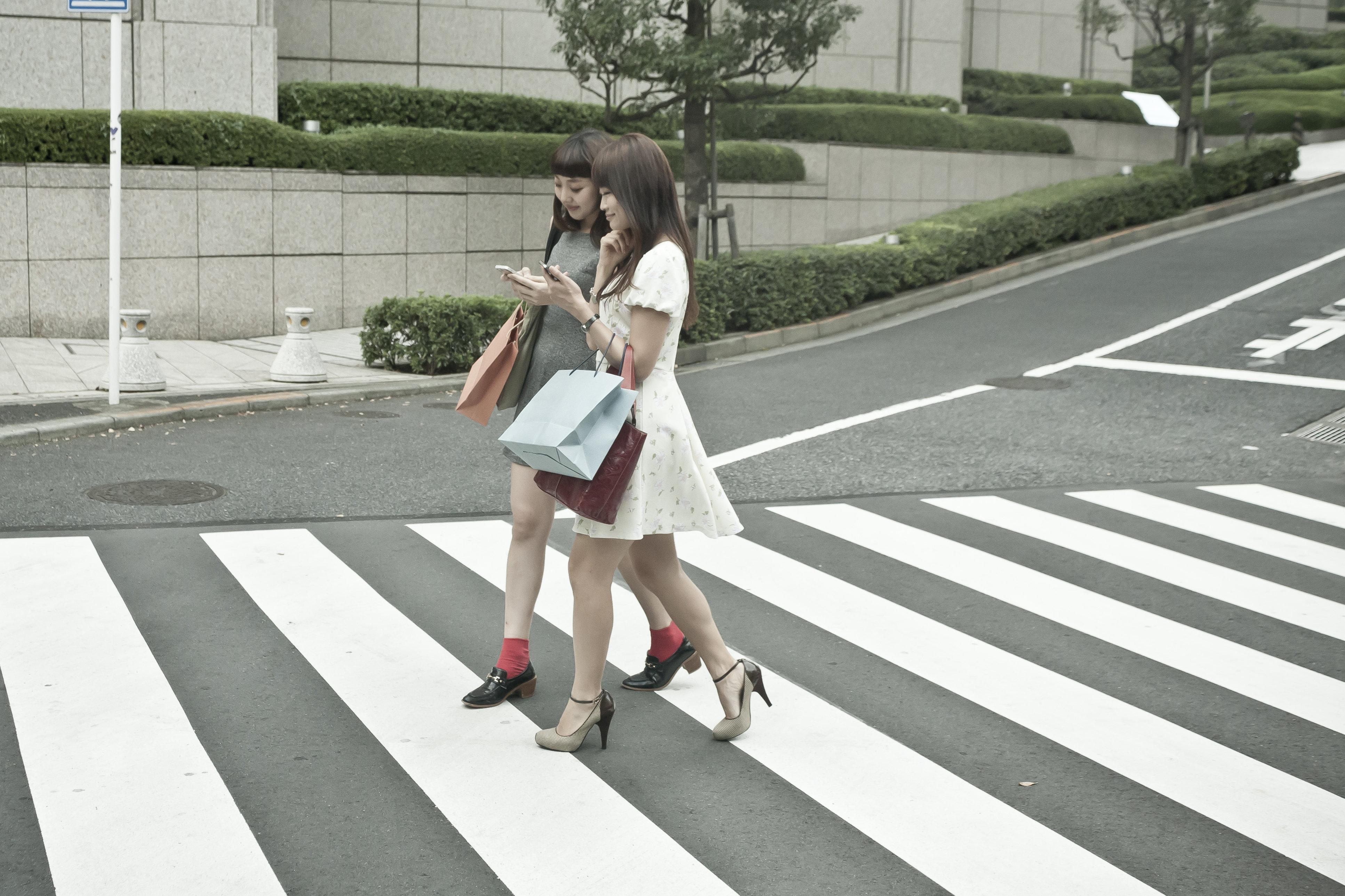 Asian women shopping,walking on street