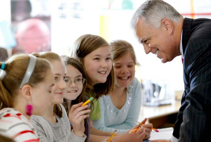 Tony Tata, then superintendent of the Wake County Public School System, talks to a group of students in 2012.