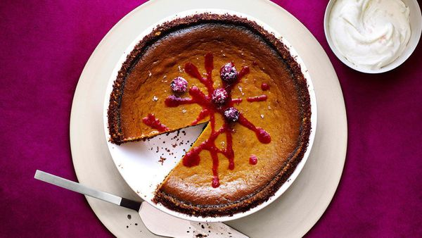 A crust of crushed walnuts and gingersnap cookies is an unusual way to jazz up classic pumpkin pie, without adding extra work