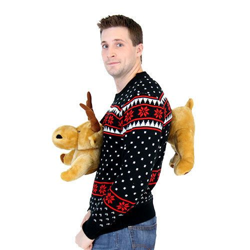 "$67.95 at <a href=""http://www.uglychristmassweater.com/shop/black-3d-sweater-christmas-plush/"" target=""_blank"">Ugly Christmas"