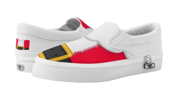 """Christmas Santa Suit Slip On Shoes $78.25, <a href=""""http://www.zazzle.com/christmas_santa_suit_slip_on_shoes_printed_shoes-25"""