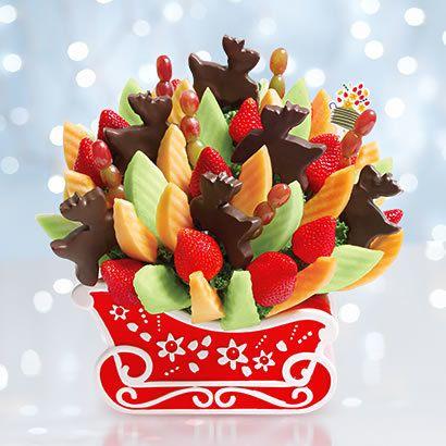 """Reindeer Sleigh Ride Bouquet, $79 to $99 at <a href=""""https://www.ediblearrangements.com/fruit-gifts/reindeer-sleigh-ride-bouq"""