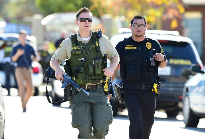 Police at the scene of the shooting in San Bernardino, California, on Dec. 2, 2015.