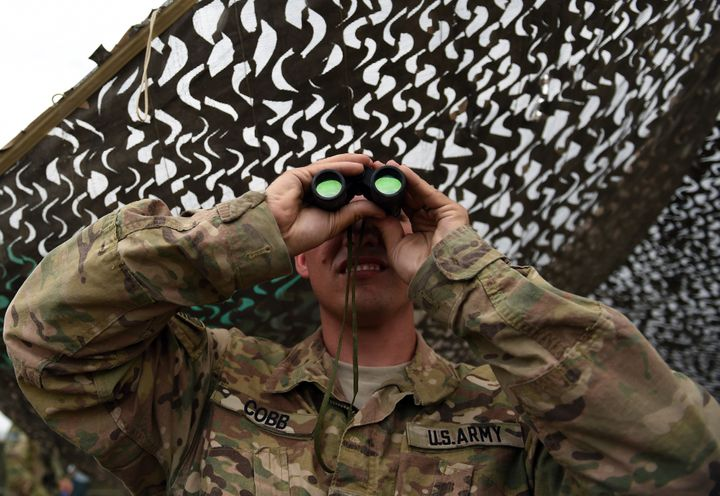 An American soldier at Forward Operating Base Connelly, where U.S. troops are providing training and tactical advic