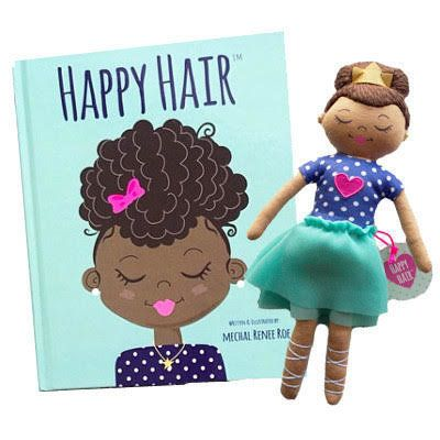 "The <a href=""http://www.happyhairshop.com/""><i>Happy Hair</i> book and doll </a>were created by author and illustrator M"