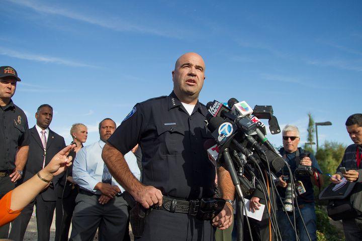 San Bernardino Police Chief Jerod Burguanspeaks to the mediaafter the mass shooting.