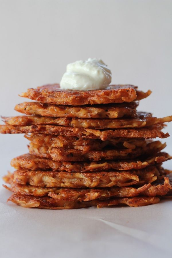 "<strong>Get the <a href=""http://www.halfbakedharvest.com/chipotle-cheddar-potato-latkes/"">Cheddar Chipotle Potato Latkes reci"