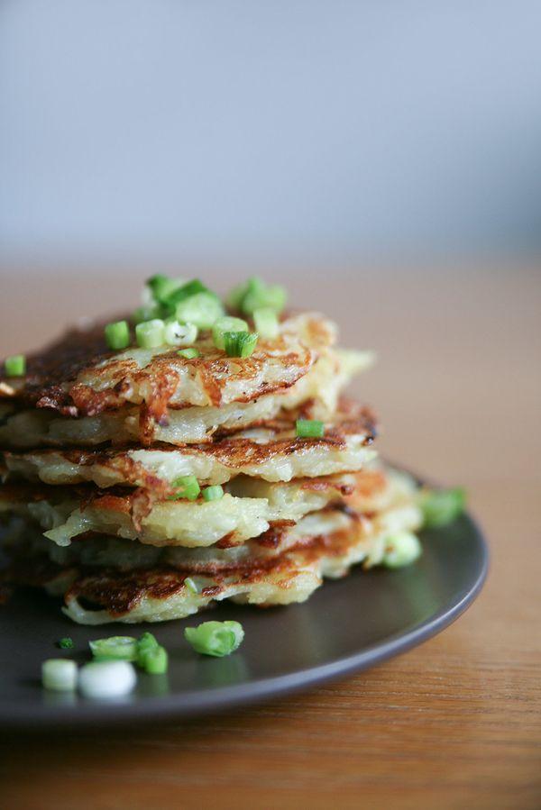 "<strong>Get the <a href=""http://pureella.com/potato-parsnip-healthy-latkes-gluten-free-vegan/"">Potato And Parsnip Latkes reci"