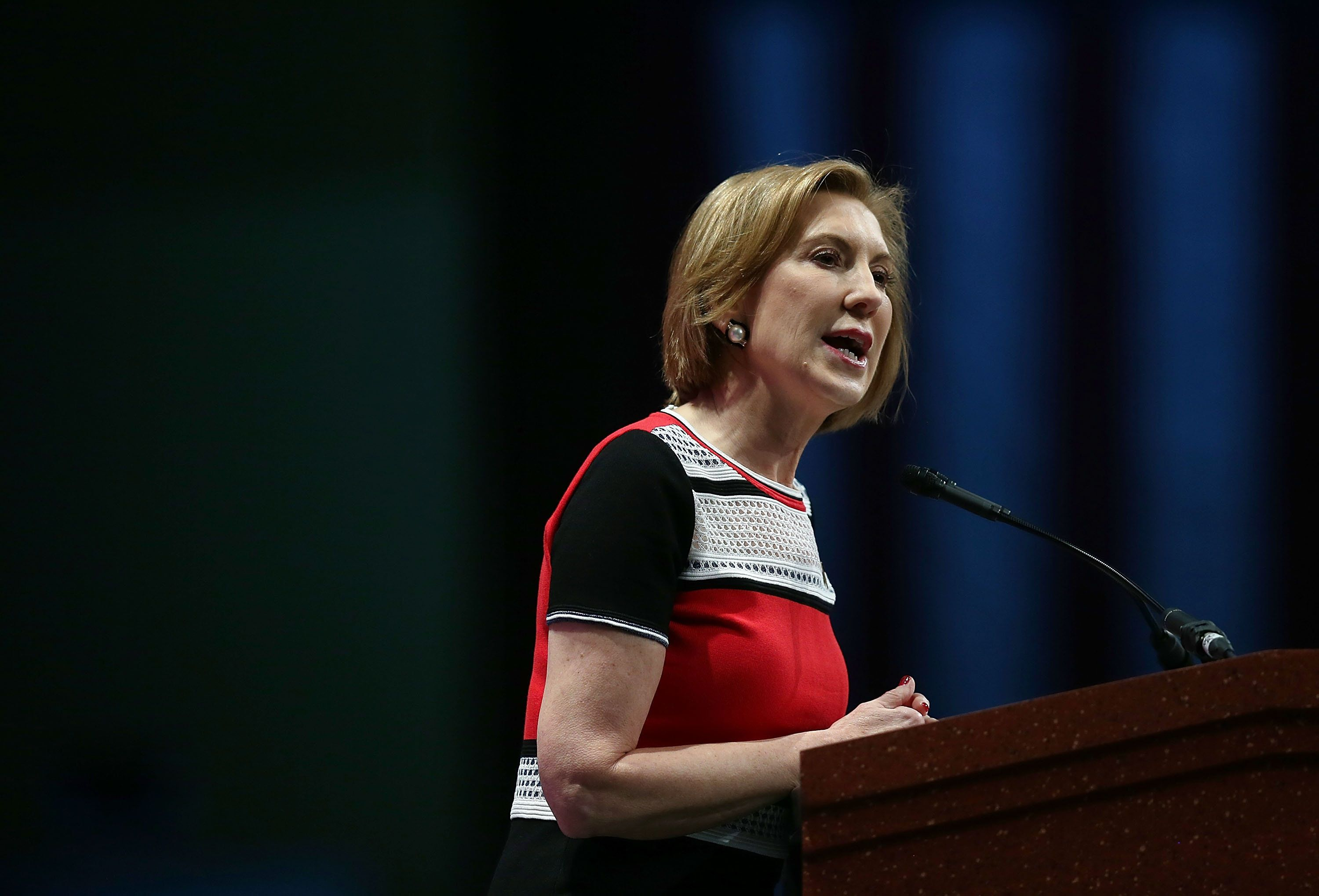 ORLANDO, FL - NOVEMBER 14:  Republican presidential candidate Carly Fiorina speaks during the Sunshine Summit conference being held at the Rosen Shingle Creek on November 14, 2015 in Orlando, Florida.  The summit brought Republican presidential candidates in front of the Republican voters.  (Photo by Joe Raedle/Getty Images)