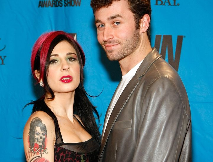 Adult film actors Joanna Angel and James Deen arrive at the 26th annual Adult Video News Awards Show on January 10, 2009