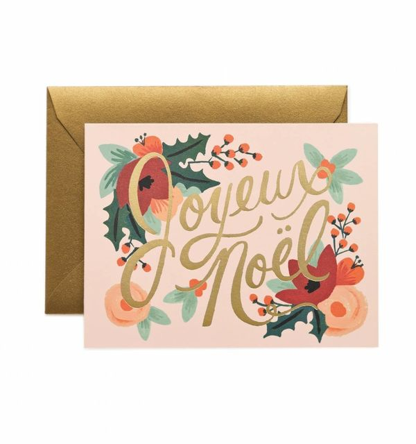 """$4.50 on <a href=""""https://riflepaperco.com/catalog/product/view/id/1347/s/joyeux-noel-holiday-greeting-card/category/14/"""" tar"""