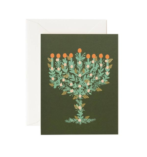 """$4.50 on <a href=""""https://riflepaperco.com/catalog/product/view/id/1344/s/illustrated-menorah-holiday-greeting-card/category/"""
