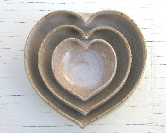 "Nesting Heart Bowls, $45 at <a href=""https://www.etsy.com/listing/66753009/nesting-heart-bowls-in-rustic-speckled?ref=shop_ho"