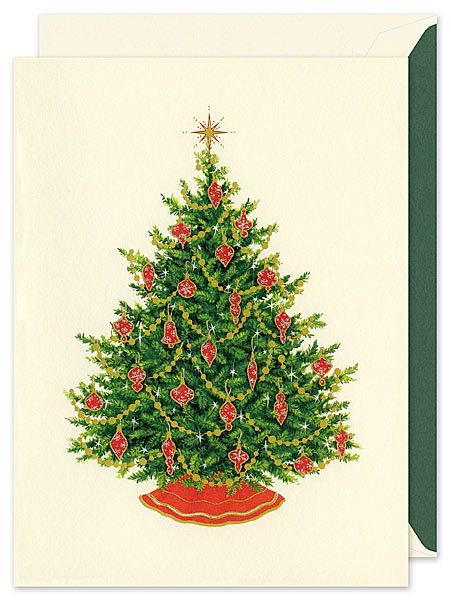 """$30-$50 for a pack of 10, on <a href=""""http://www.finestationery.com/product/William-Arthur/Christmas-Tree-Greeting-Card/12660"""