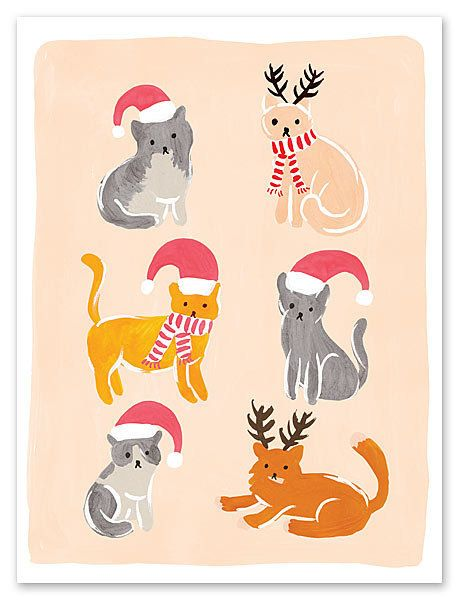 """$30-$50 for a pack of 10, on <a href=""""http://www.finestationery.com/product/Fox-and-Fallow/Christmas-Cats-Greeting-Card/12675"""