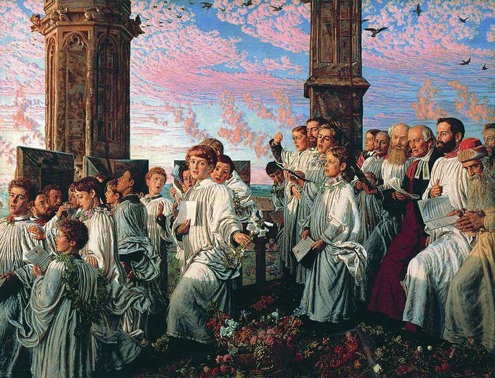 William Holman Hunt, May Morning on Magdalen Tower, 1890