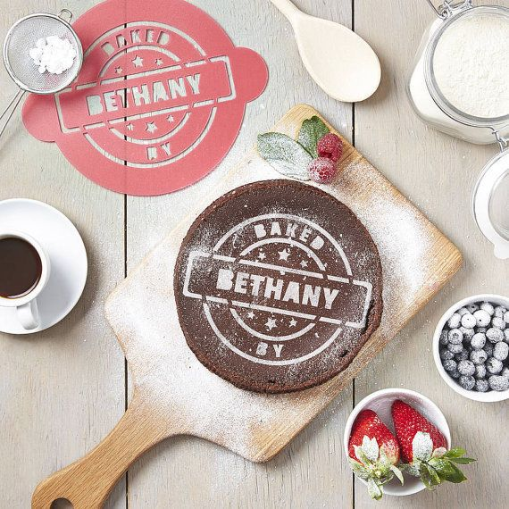 """Personalized 'Baked By' Cake Stencil, $26.28&nbsp;at <a href=""""https://www.etsy.com/listing/181829940/personalised-baked-by-ca"""