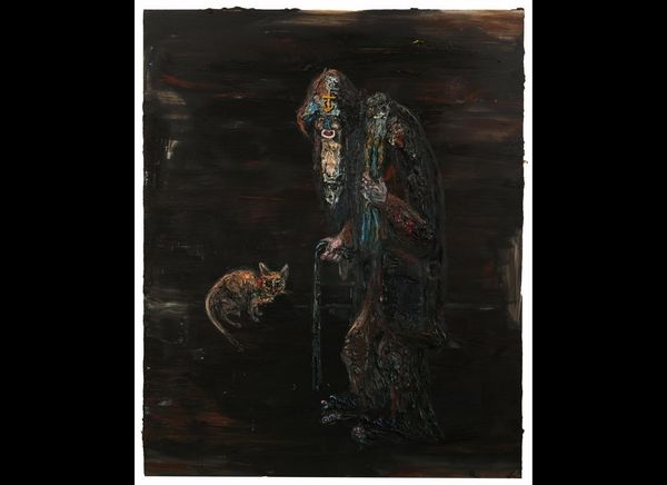 """""""Sailor with Mother Cat,"""" 84"""" x 68"""", oil on linen, 2012."""