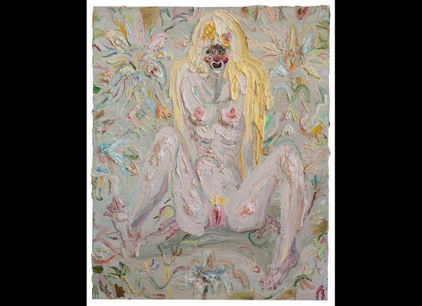 """Mermaid with Legs #2,"" 60"" x 48,"" oil on linen, 2012."