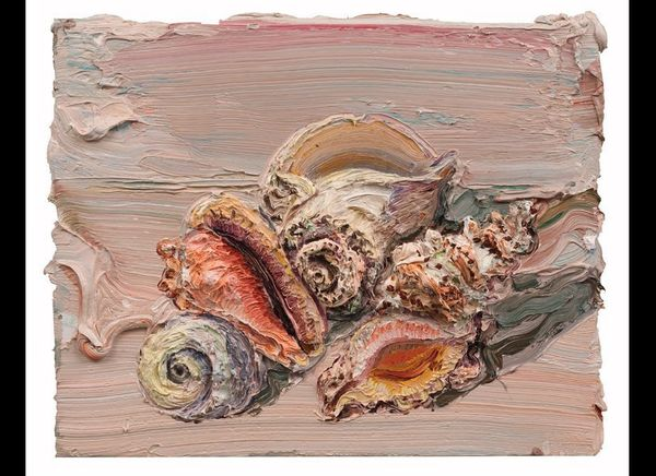 """""""Pink Shells,"""" 16"""" x 20"""", oil on canvas stretched over board, 2012."""