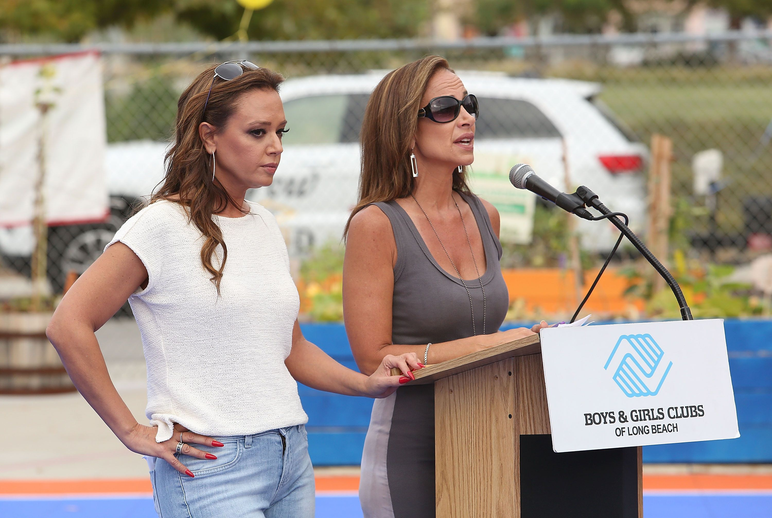 LONG BEACH, CA - SEPTEMBER 21:  Actresses Leah Remini and Nicole Remini attend the Life is Good supports Dream Court opening BGCLB event on September 21, 2015 in Long Beach, California.  (Photo by Jesse Grant/Getty Images for Life is Good)