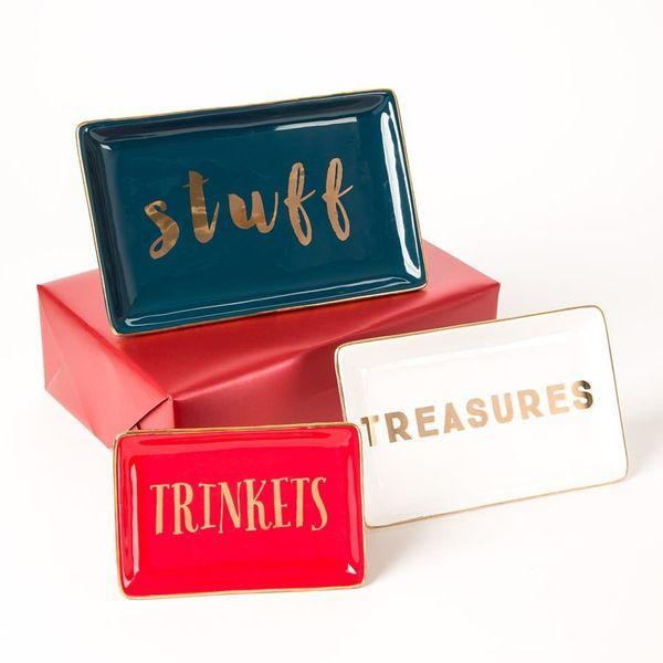 "Pre-wrapped ""Treasures"" Catch-All Trays, $24 (originally $40) at <a href=""http://www.papyrusonline.com/pre-wrapped-treasures-"