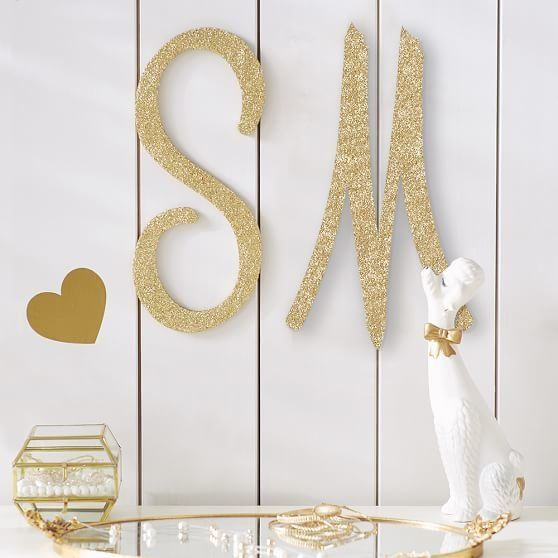 """Glitter Wood Letters, $39 at <a href=""""http://www.pbteen.com/products/no-nails-dorm-letters/?cm_src=AutoCSLPIP"""" target=""""_blank"""