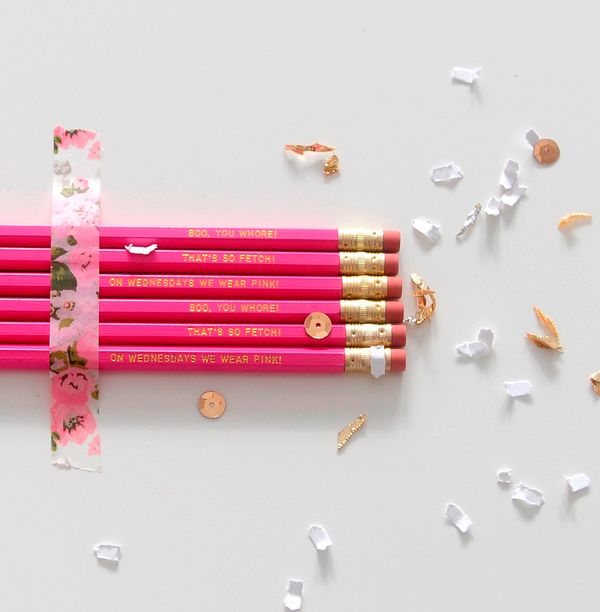 """""""Mean Girls"""" Pink Pencils, $11.75 at <a href=""""https://www.etsy.com/listing/252421313/mean-girls-medium-pink-pencils-with-gold"""