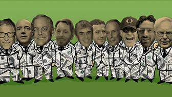From left: Bill Gates, Jeff Bezos, David Koch, Larry Ellison, Sergei BrinCK, Mark Zuckerberg, Michael Bloomberg, Phil Knight, Larry PageCK, Warren BuffettCK
