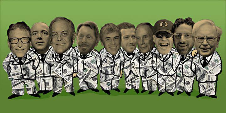 From left, Bill Gates, Jeff Bezos, David Koch, Larry Ellison, Larry Page, Mark Zuckerberg, Michael Bloomberg, Phil Knight, Se