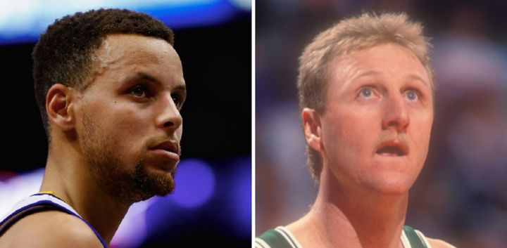 Stephen Curry (left) and Larry Bird (right) are two of the greatest three-point shooters in league history.