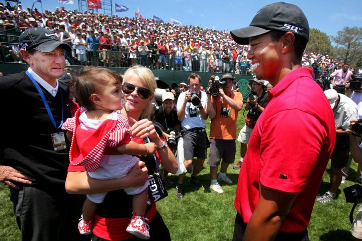 Tiger Woods greeting then-wife Elin Nordegren and their daughter Sam after winning the 108th U.S. Open at Torrey Pines Golf in 2008.