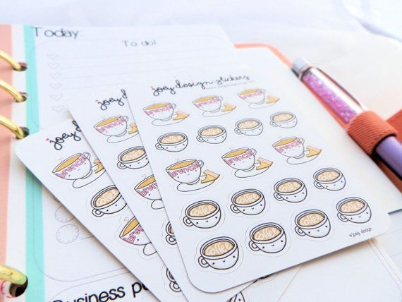 "Planner Stickers, $2.25 at <a href=""https://www.etsy.com/listing/242324956/planner-stickers-brunch-and-coffee-dates?utm_sourc"