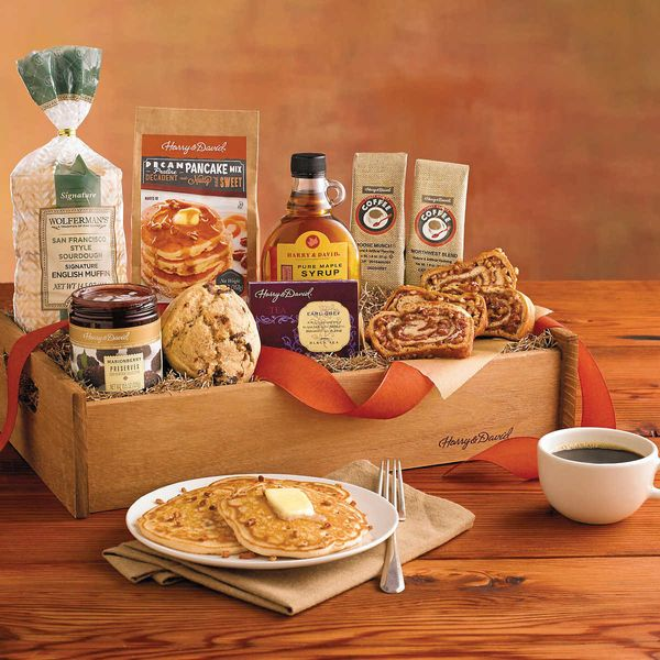 "Brunch Gift Basket, $69.99 at <a href=""http://www.harryanddavid.com/h/gift-baskets-tower-boxes/specialty-gift-boxes/24526"" ta"
