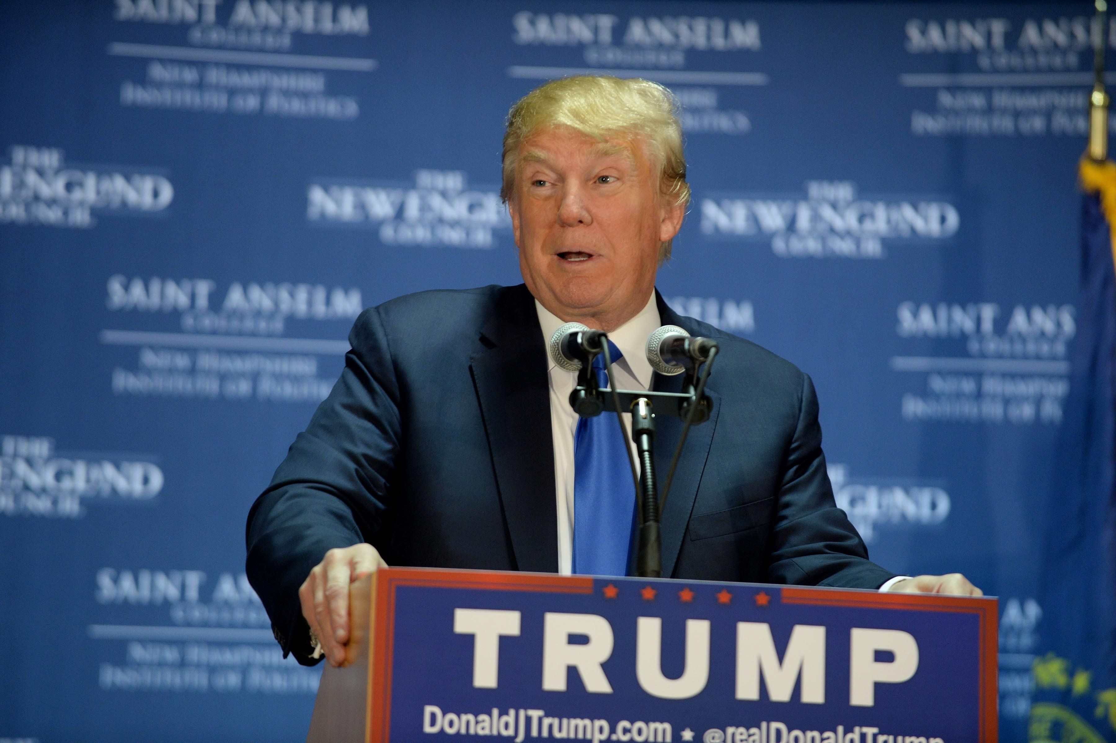MANCHESTER, NH - NOVEMBER 11: Republican Presidential candidate Donald Trump speaks at 'Politics And Eggs' at the Radisson Hotel, on November 11, 2015 in Manchester, New Hampshire. Coming off the fourth debate Trump continues to run strong in the polls. (Photo by Darren McCollester/Getty Images)
