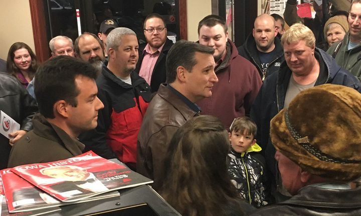 Sen. Ted Cruz (R-Texas) visits with voters at a Casey's convenience store in Chariton, Iowa, on Nov. 28.