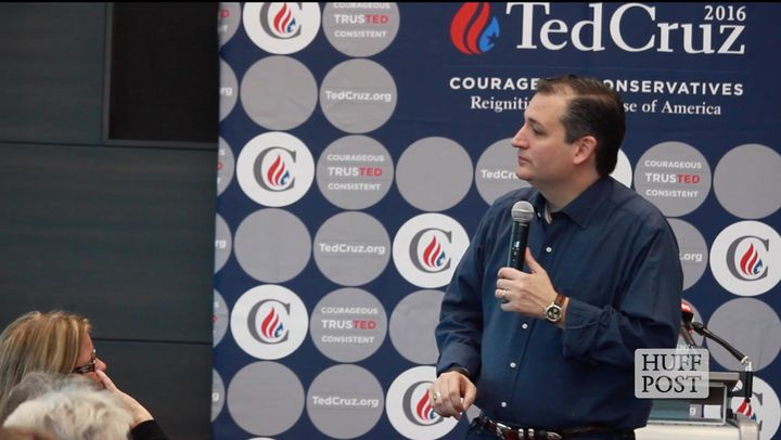 Sen. Ted Cruz (R-Texas) answers questions from the crowd during a town hall event at Kirkwood Community College in Coralville