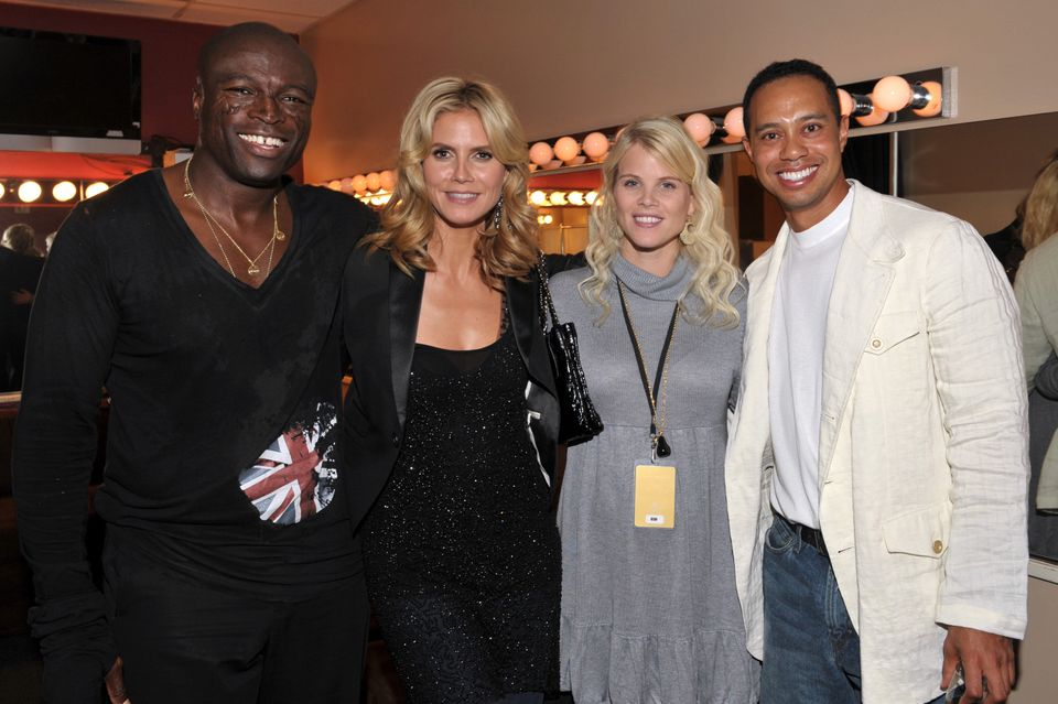 Seal, Heide Klum, Elin Woods and Tiger Woods . (Photo by Lester Cohen/WireImage)