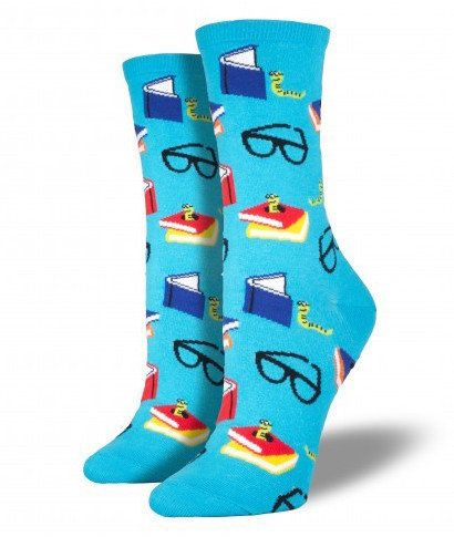 "Get the <a href=""http://www.socksmith.com/bookworm.html"">Bookworm socks</a>."