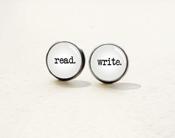 "Get the <a href=""https://www.etsy.com/listing/207825323/read-write-stud-earrings-reader-earrings"">Read-Write Earrings</a>."