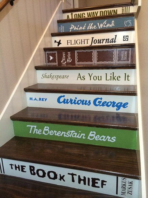 "Get the <a href=""https://www.etsy.com/listing/123783642/book-decals-for-stair-risers-pricedstep"">book decals for stairs</a>."