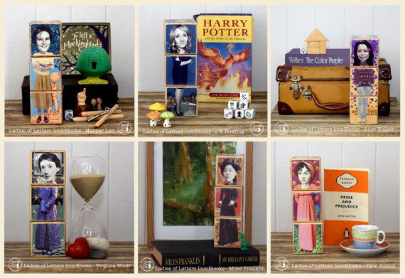 "Get the <a href=""https://www.etsy.com/listing/236114918/writers-blocks-ladies-of-letters"">Famous Women 'Writers Blocks.'</a>"