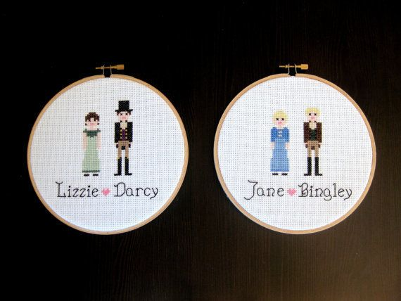 "Get the <a href=""https://www.etsy.com/listing/257688250/pride-prejudice-jane-austen-cross-stitch"">Pride And Prejudice cross s"